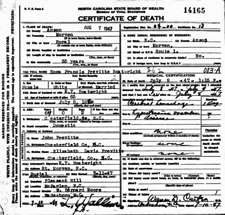 Emma Frances Previtte Boatwright Death Certificate: