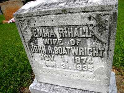 Emma R. Hall Boatwright Gravestone