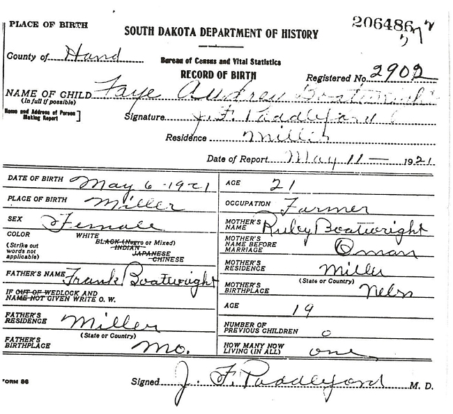 Faye Audrey Boatwright Birth Certificate: