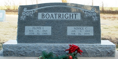 Floyd Irvin and Novice C. Barry Boatright Gravestone