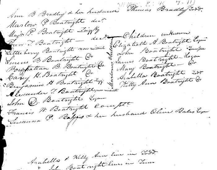 Frances Tinsley Boatwright Document 1836