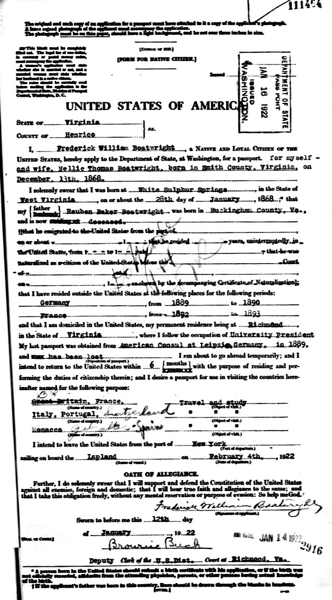 Frederic William Boatwright Passport