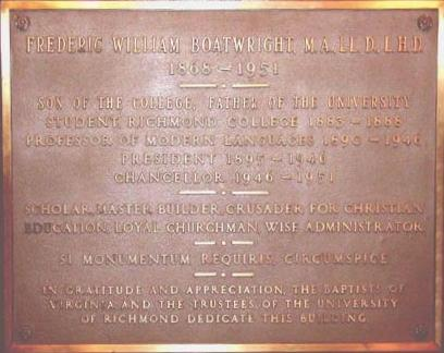 Frederic William Boatwright Plaque