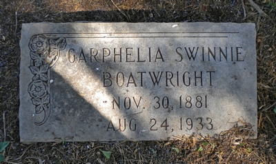 Garphelia F. Swinnie Boatwright Gravestone