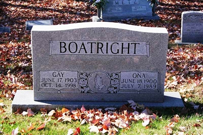 Gay L. and Ona Gainer Boatright Gravestone