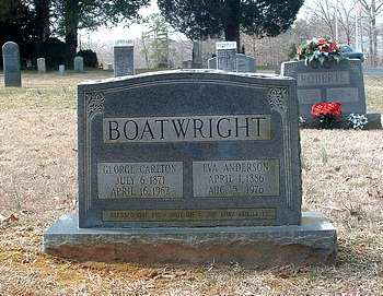 George Carlton Boatwright and Eva Cornelia Anderson Gravestone