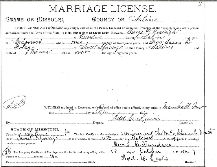 George Francis and Laura Belle Golay Boatright Marriage License: