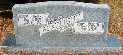 George Warren and Ruby Dorothy Kite Boatright Gravestone
