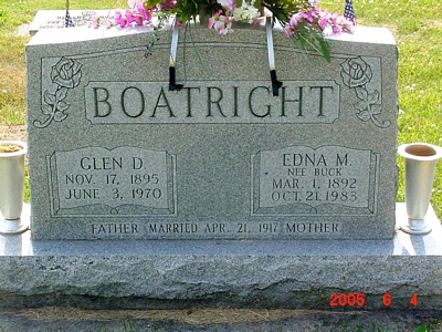 Glen Dale Boatright and Edna M. Buck Gravestone