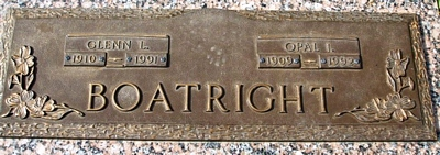 Glenn Lorraine and Opal Irene Heuston Boatright Marker