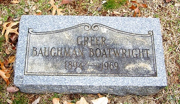 Greer Baughman Boatwright Marker
