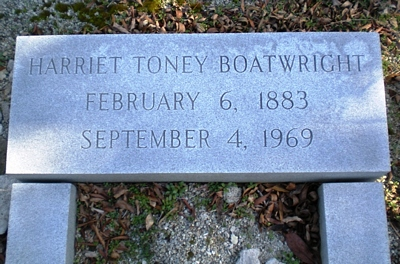 Harriet Toney Boatwright Gravestone