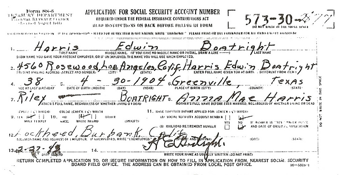Harris Edwin Boatright Social Security Application: