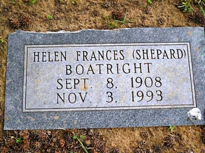 Helen Frances Smith Boatright Gravestone