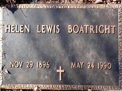 Helen Frances Lewis Boatright Gravestone: