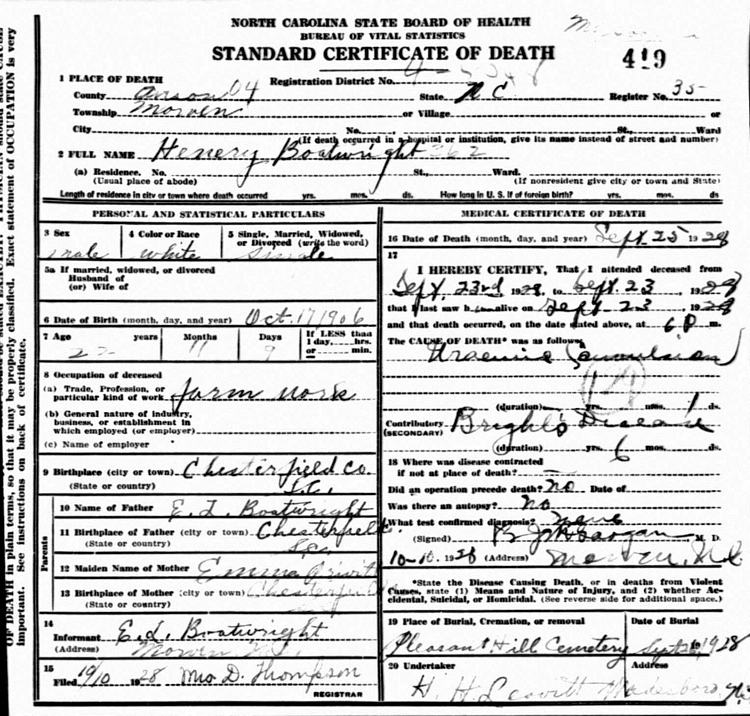 Henry Thompson Boatwright Death Certificate: