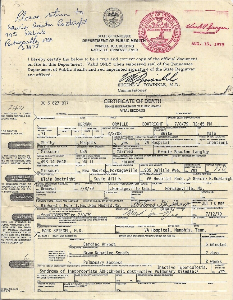 Herman Orville Boatright Death Certificate: