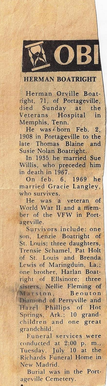 Herman Orville Boatright Wells Obit