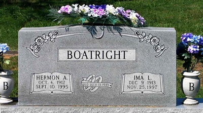 Hermon Albert and Ima Lera Parks Boatright Gravestone