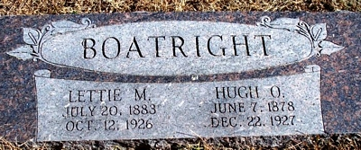 Hugh Oliphant and Lettie May Jarvis Boatright Gravestone