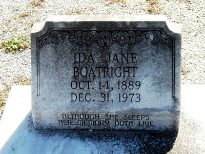 Ida Jane Carter Boatright Gravestone