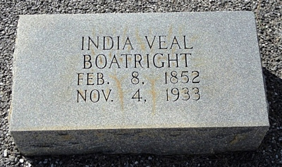 India A. Veal Boatright Gravestone