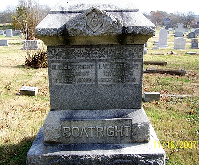 Isaac Washington and Martha Elizabeth Alexander Boatright Gravestone
