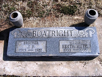 J. B. Boatright and Edith Ruth Boatright Gravestone