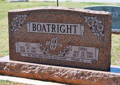 J. C. and Opal Mae Harthcock Boatright Gravestone
