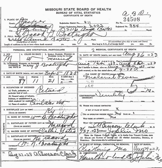 Jacob Gates Boatright Death Certificate: