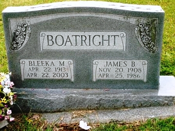 James Bennett Boatright and Bleeka Ray Mullis Gravestone