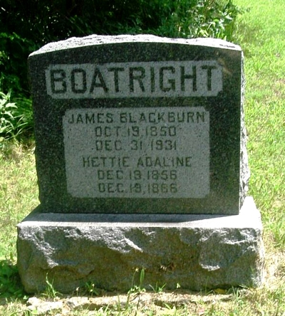 James Blackburn and Henrietta Adaline Christian Boatright Gravestone
