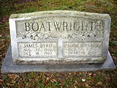 James Byrd and Aline Thorma Reeves Boatwright Gravestone