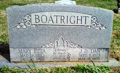 James Daniel and Mary Etta Carlock Boatright Gravestone