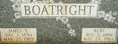 James Elbert and Ruby Lucinda White Boatright Gravestone