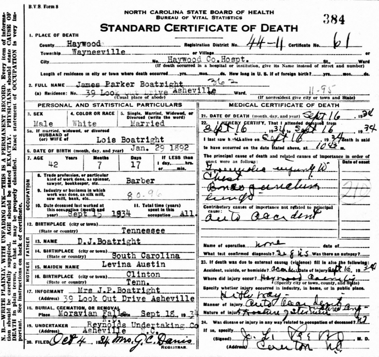 James Parker Boatright Death Certificate: