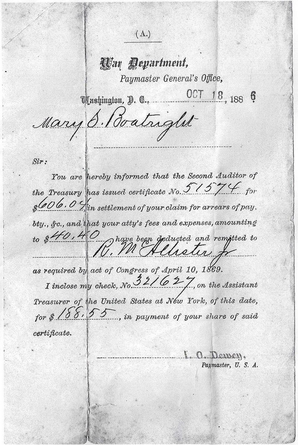 James Thomas Boatright Civil War Pension