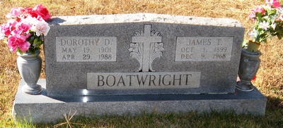 James Thomas and Dortha Delorus Hassell Boatwright Gravestone: