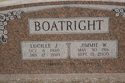 James W. and Lucille Julia Fowler Boatright Gravestone