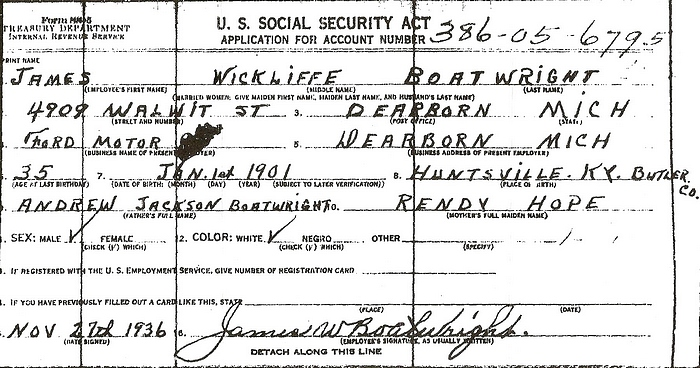 James Wickliffe Boatwright Social Security Application: