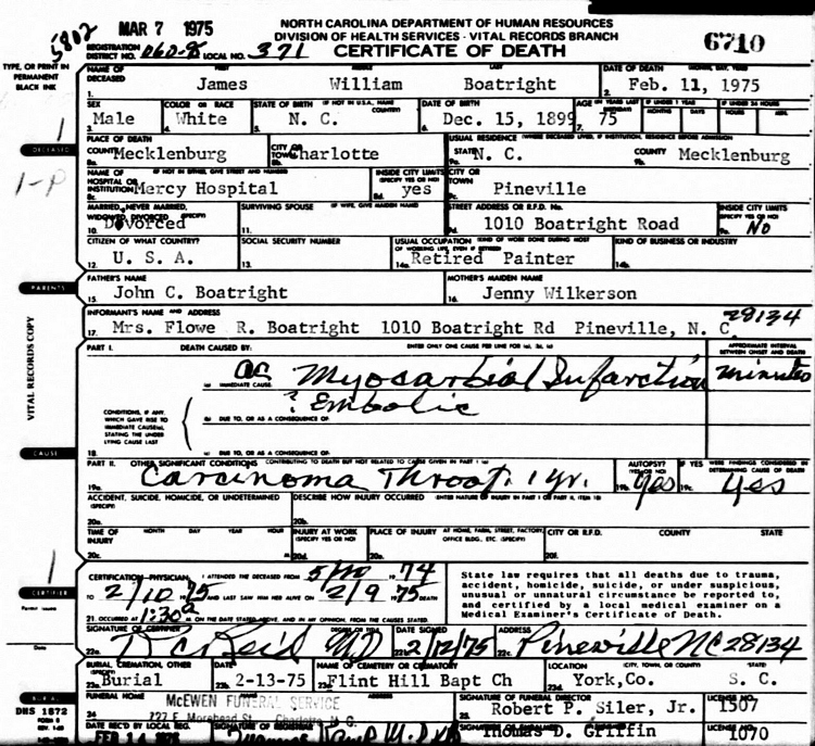 James William Boatwright Death Certificate: