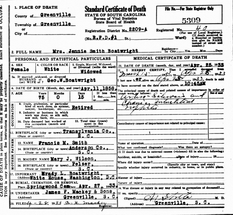 Jennie Smith Boatwright Death Certificate: