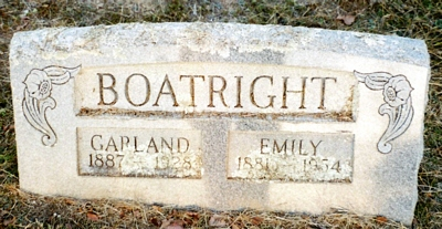Jesse Garland and Emily Looper Boatright Gravestone