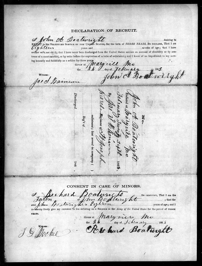 John A. Boatwright Civil War Records: