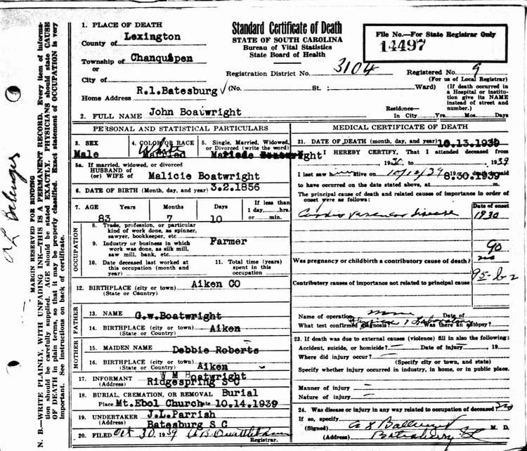 John B. Boatwright Death Certificate:
