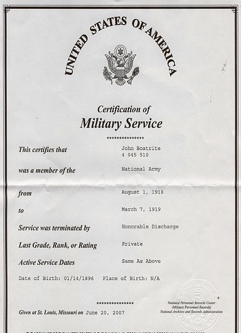 John Boatwright Military Service Record