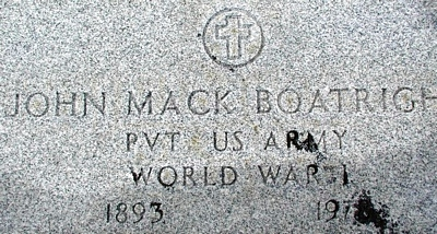 John Mack Boatright Gravestone