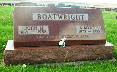John Milton and Alice Myrtle Reese Boatwright Gravestone