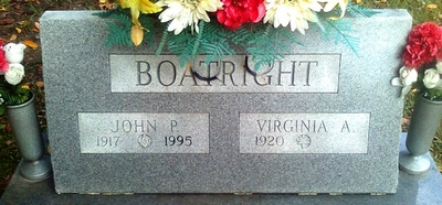 John Paul and Virginia Azile Wampler Boatright Gravestone