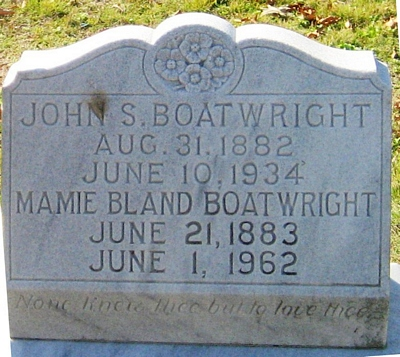 John Simmons and Mamie Lee Bland Boatwright Gravestone